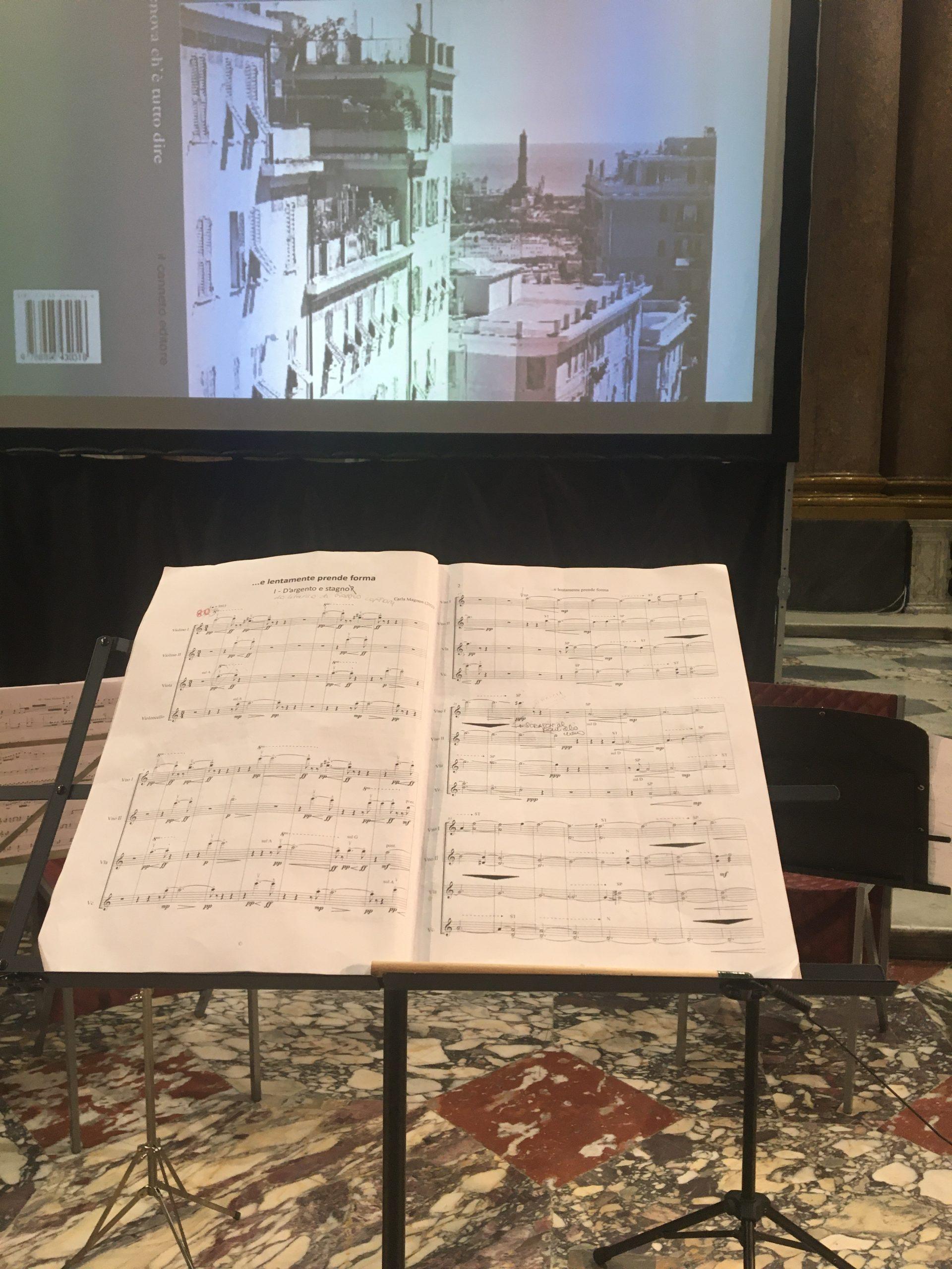 "©première my work ""e lentamente prende forma"", for string quartet, Palazzo Ducale, Genova, 2020"